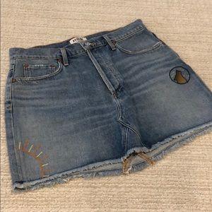 AGOLDE mini blue jean skirt